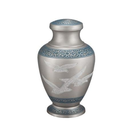 Michigan Cremation Urn Clearwater SIlver with Blue deatiling and birds
